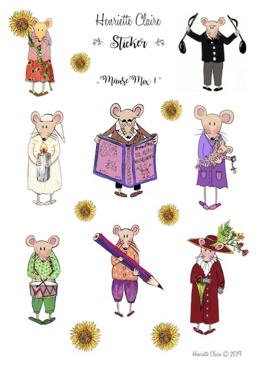 Mäuse MIx Stickerbogen und Sonnenblumen