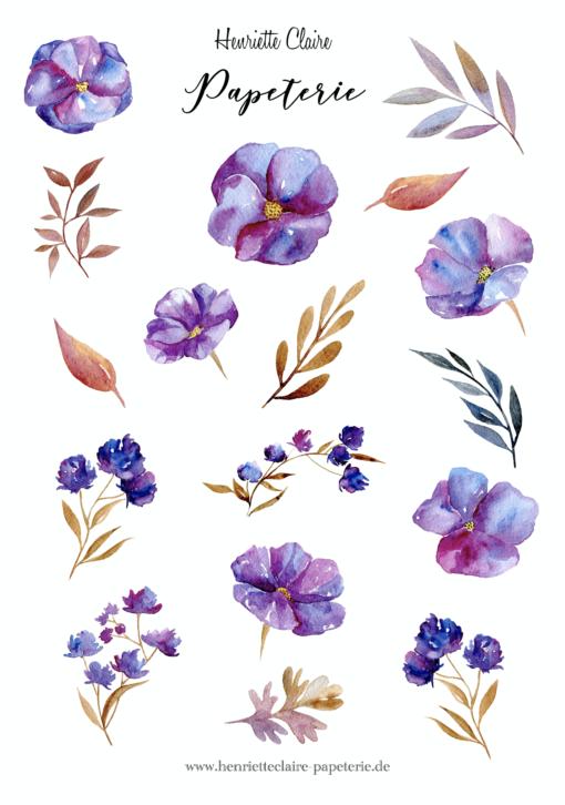 Aufkleber Blumen lila