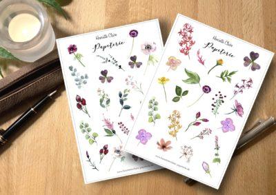 Aufkleber 2 Aufkleberbogen zarte Blumen 1 und 2