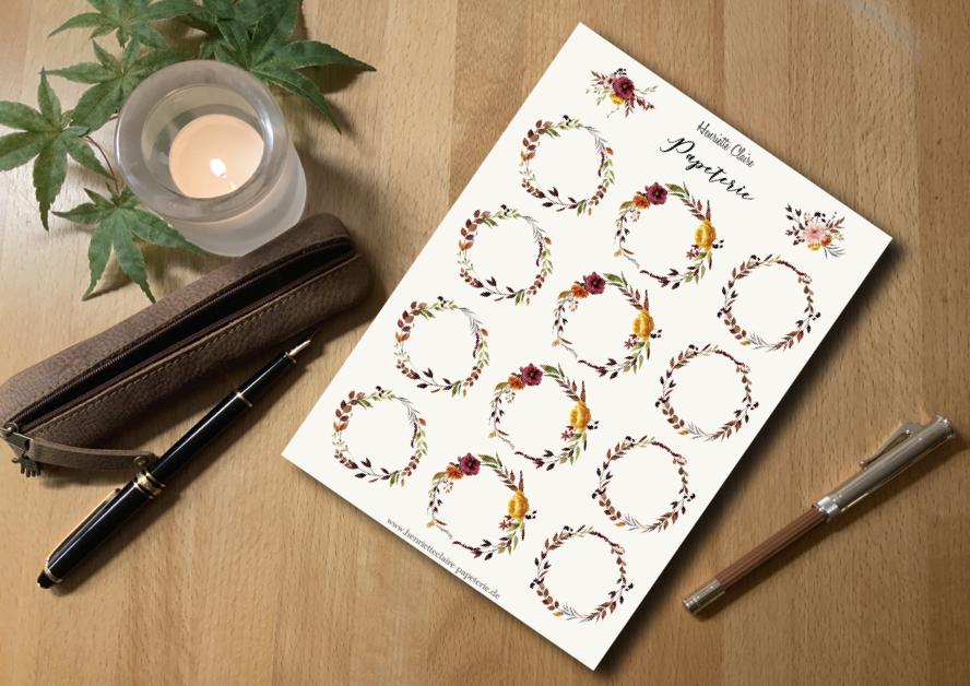 Aufkleber Blumenkränze HERBST mit Anemonen