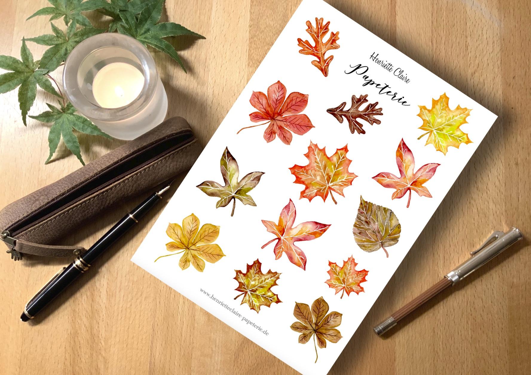 Aufkleber Herbstblätter 🍁Aquarell