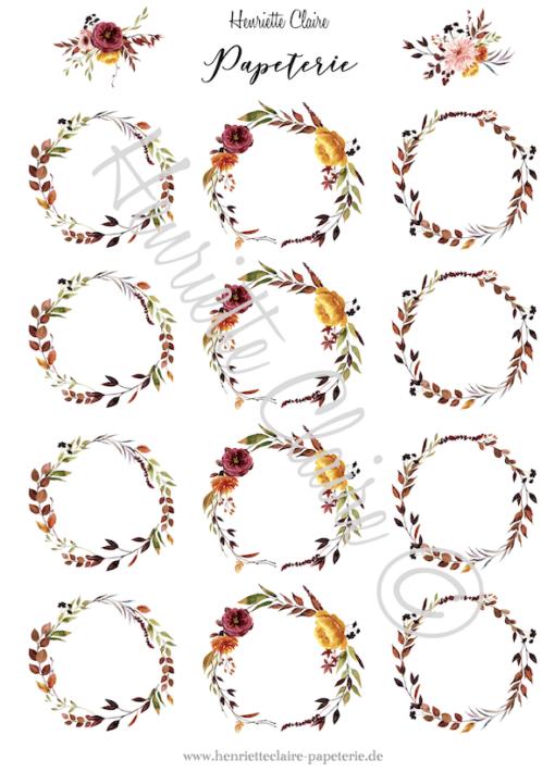 Aufkleberbogen Kränze Herbst