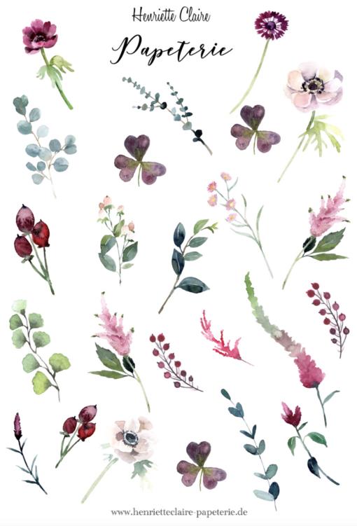 2 Aufkleberbogen zarte Blumen 1 und 2