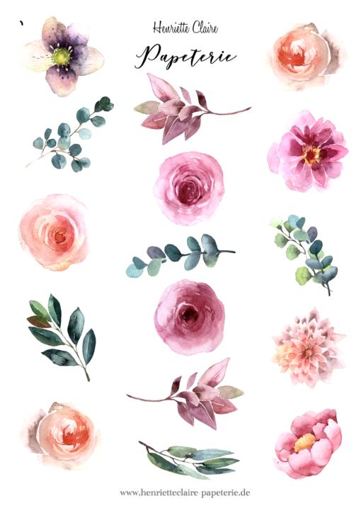 Aufkleber Rosen Ranunkeln blaue Blätter Aufkleberbogen