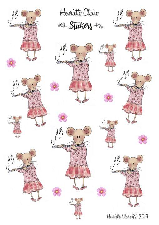 Aufkleber Maus rosa Querflöte