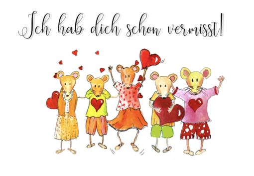 Briefkarte Mäuse wir vermissen dich