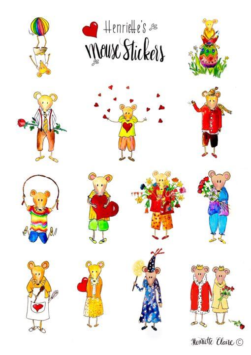 Mäuse Aufkleber Sticker handgemalt 13 Liebe