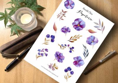 Sticker Tisch lila Blumen