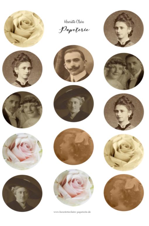 Alte Fotos und Rosen für Kalender, bullet journal, planner, scrapbook