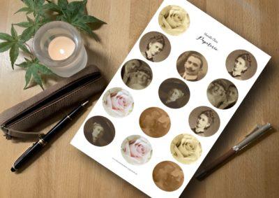 plannersticker Alte Fotos und Rosen für Kalender, bullet journal, planner, scrapbook
