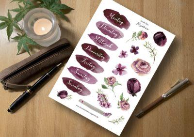 Aufkleber Hobonichi Rosen Wochentage Stickers Henriette Claire