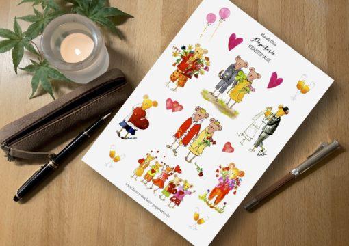 Aufkleber Hochzeit Mäuse Liebe Verlobung stickers Wedding engagement