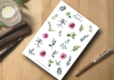 Aufkleber Ranunkeln rosa und Blätter