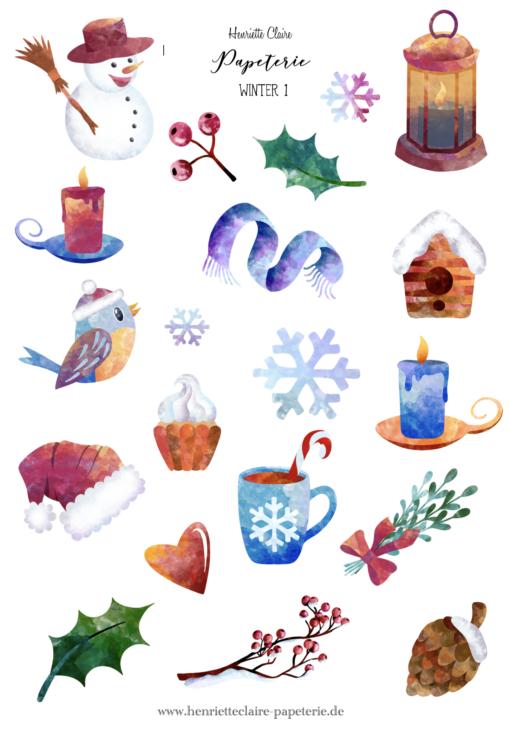 Sticker Aufkleber Weihnachten Winter Schnee Bullet Journal Henriette Claire