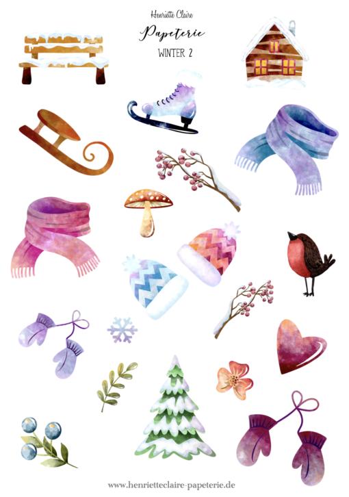 Sticker Aufkleber Weihnachten Winter Schnee Bullet Journal Kalender
