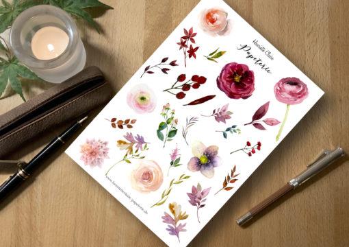 Aufkleber rot rosa Rosen zart Sticker für Bullet journal planner Roses