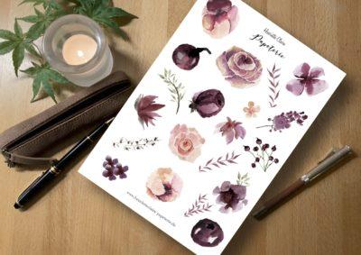 Aufkleber Rosen und Beeren weinrot rosa rose blätter bullet journal planner