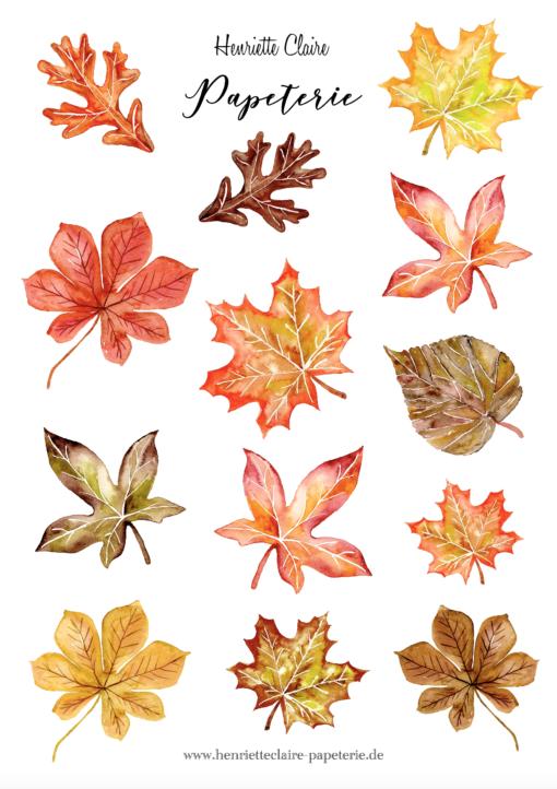 Sticker Aufkleber Herbstblätter autumn leaves Henriette Claire