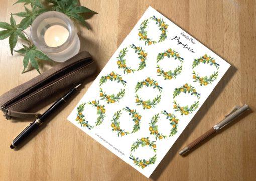 Blumenkränze Orangen Blätter handmade Stickers