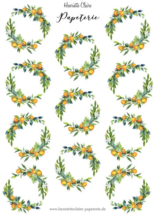Blumenkranz Orangen Blätter handmade Stickers
