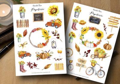 Aufkleber Herbst bullet journal Happy fall autumn sunflower Sonnenblume