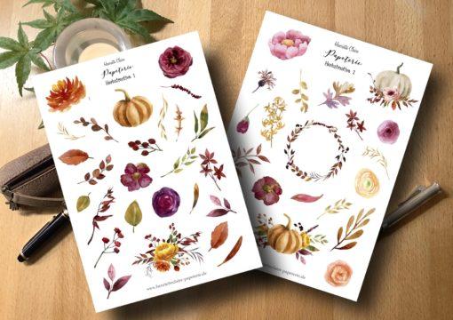 Herbstmotive 1 und 2 Sticker Aufkleber Herbst Herbstblätter