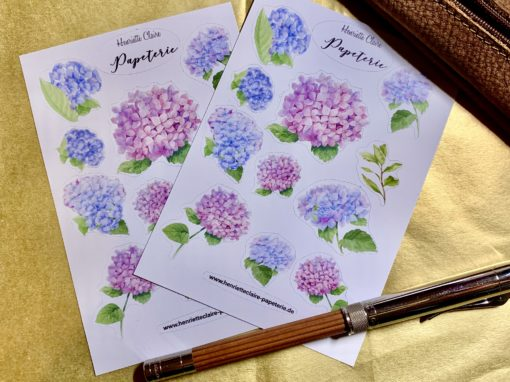 Aufkleber Hortensien hydrangea stickers bullet journal