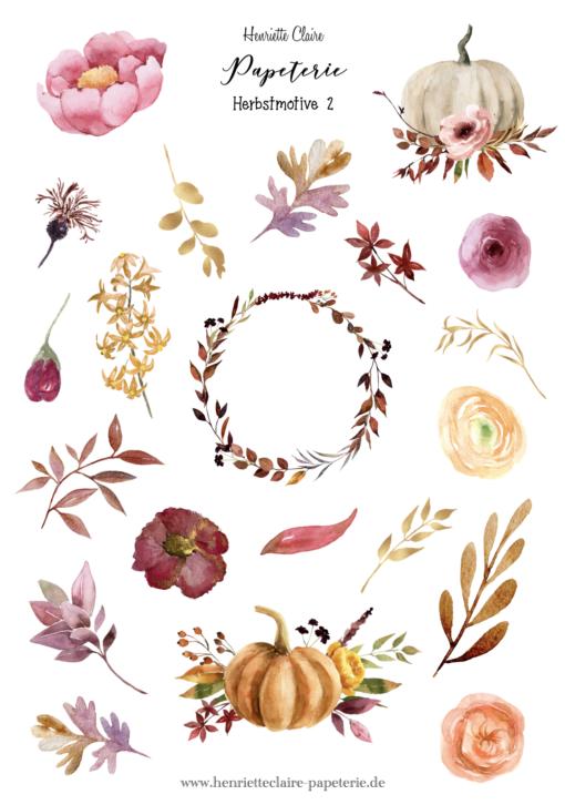 Herbstmotive Aufkleber Herbstblätter 2 Henriette Claire
