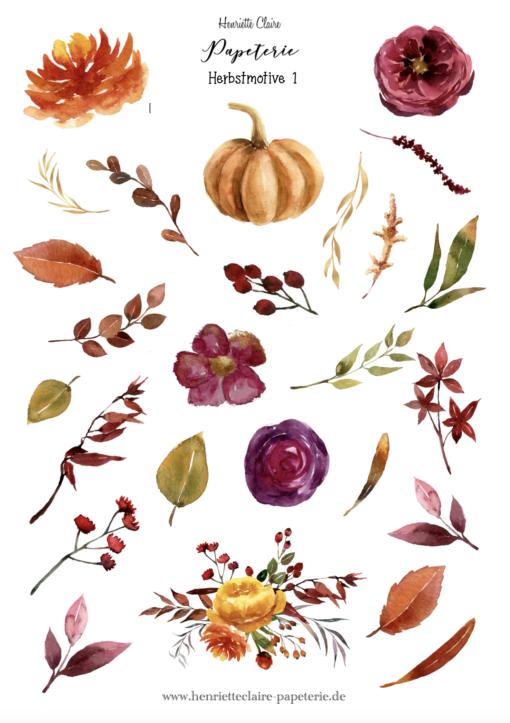 Aufkleber Herbstmotive 1 bunte Farben Herbstblätter