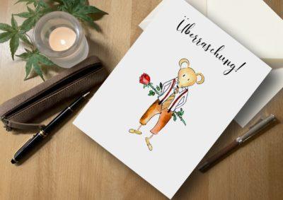 Karte Maus Überraschung surprise card rose Henriette Claire