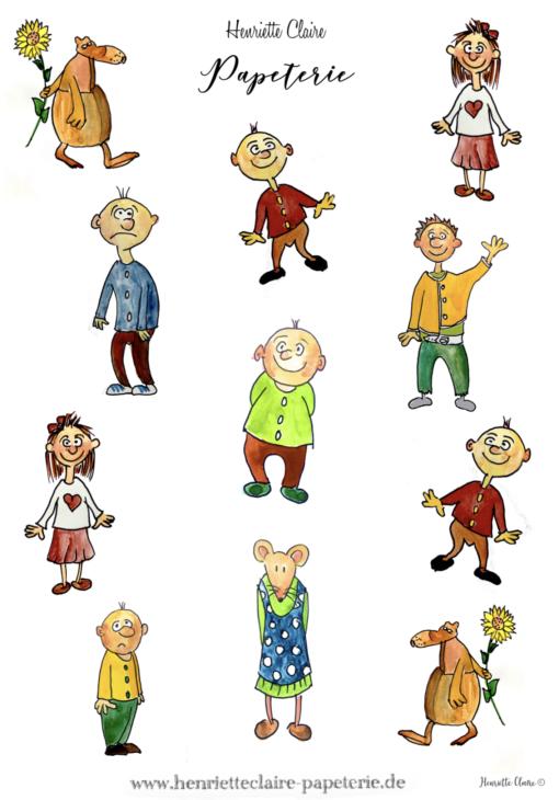 comic Lustige Figuren Henriette Claire aufkleber sticker geschenk Grundschule Lehrer