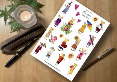 Aufkleber Sticker Mäuse handgezeichnet patentiert by Henriette Claire