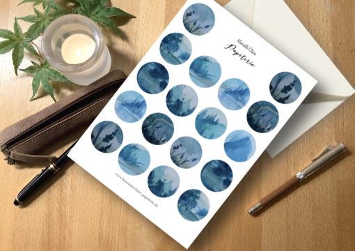 Aufkleber Magic Moons Aquarell Landschaften blau