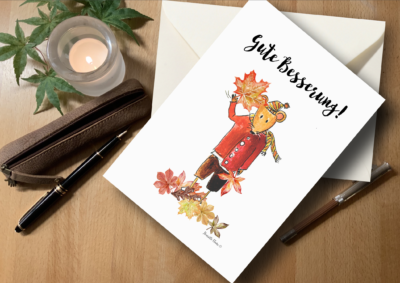 Briefkarte mit guten Wünschen Maus Karte Gute Besserung Herbst