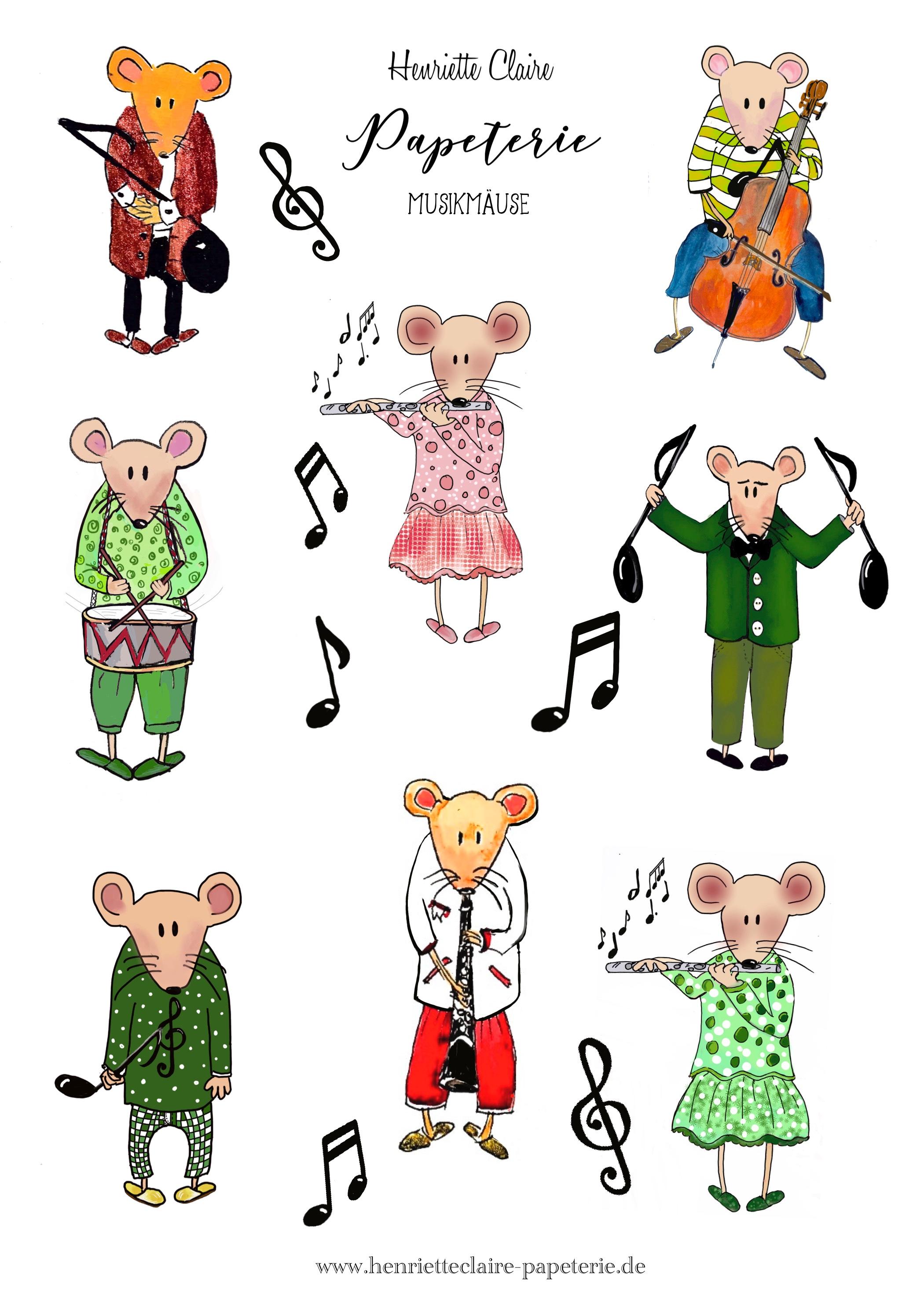 Musik Mäuse Aufkleber Henriette Claire handmade