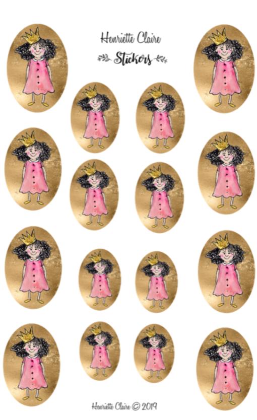 Aufkleber Prinzessinnen auf GOLD