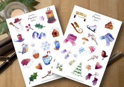 Aufkleber Winter 1 und 2 Weihnachten Sticker