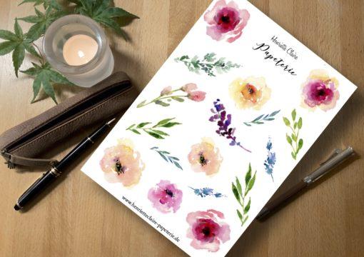 Aufkleber Rosen und Blätter in Aquarell Sticker stickers watercolor