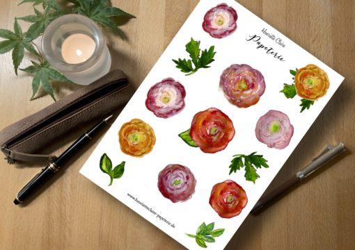 Aufkleber Ranunkeln Sticker roses handprinted handdrawn handgemalt
