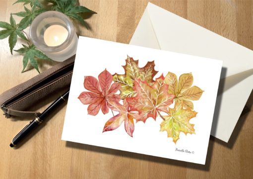 Briefkarte Herbstblätter handgezeichnet