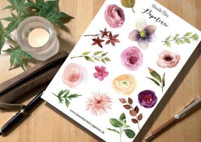Aufkleber Aquarell Ranunkeln rose Blätter