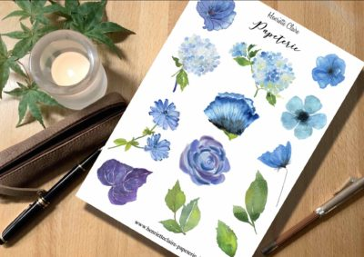 Aufkleber Aquarell blaue Blumen Blätter