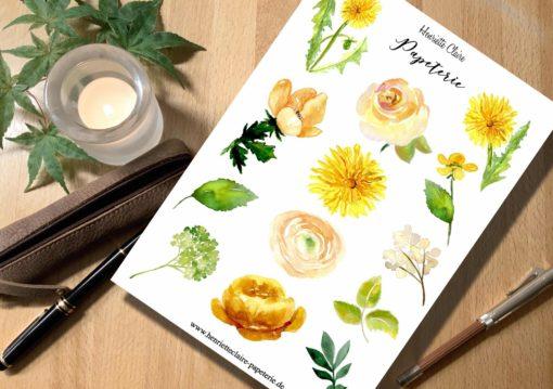Aufkleber Aquarell gelbe Blumen Löwenzahn