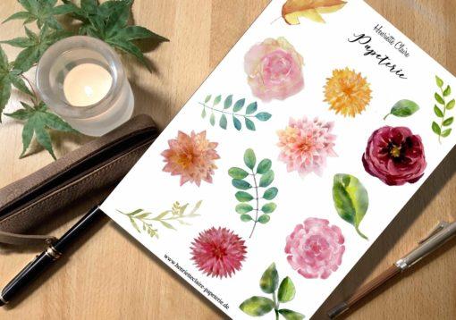 Aufkleber Rosen Blätter Dahlien