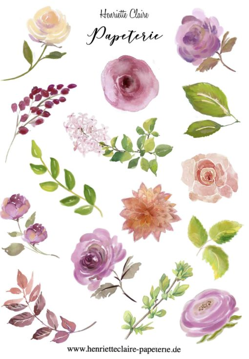 Aufkleber Rosen Ranunkeln Dahlien Blätter