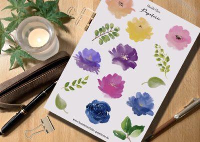 """Aufkleber Aquarell """"Bunte Blumen"""""""