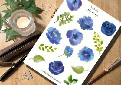 Aufkleber Aquarell Blumen Blautöne