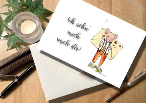 Karte sehn mich nach dir Liebeskarte Liebesbrief mit Maus und Brief