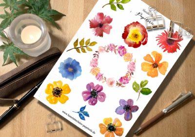 Aufkleber Blumen Aquarell bunt