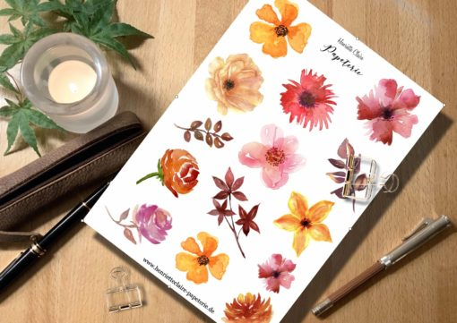 Aufkleber Blumen Aquarell in Herbstfarben